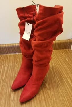 Rue21 Women's Knee-High Heeled Boots Red Faux Suede Wide Wid