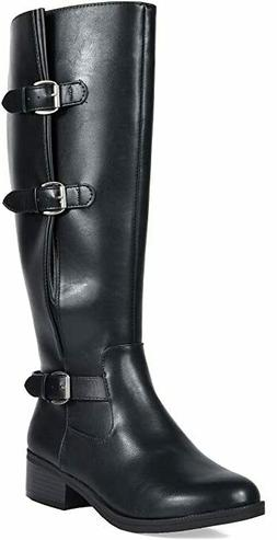 TOETOS Women's Knee High Riding Boots Wide Calf Size 12 M US