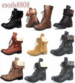 Women's Lace Cuff Round Toe Combat Mid Calf Ankle Boots Shoe