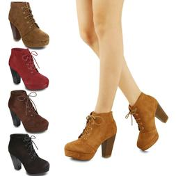Women's Lace Up Ankle Boots Faux Suede Platform High Block H