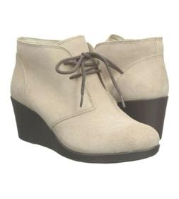 Crocs Women's Leigh Synth Suede Wedge Tan Shootie ankle Boot