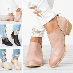 Women's Low Mid Block Heel Ankle Boots Ladies Chunky Casual