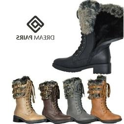 DREAM PAIRS Women Faux Fur Warm Mid Calf Boots Lace Up Zippe