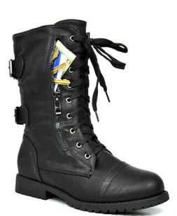 b7f0f3cfca9 DREAM PAIRS Women s New Winter Mid Calf Military Lace up Com