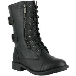 TOP MODA WOMEN'S PACK-72 MILITARY LACE UP MID CALF COMBAT BO