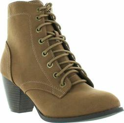 Top Moda Women's Scan-4 Cuban Heel Mid-Height Lace Up Ankle