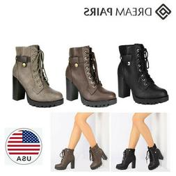 DREAM PAIRS Women's SCANDL Fashion Chunky Lace-up Heel Ankle