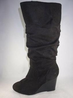 Women's RAMPAGE SHIREEN Black Fabric Knee High Wedge Casual