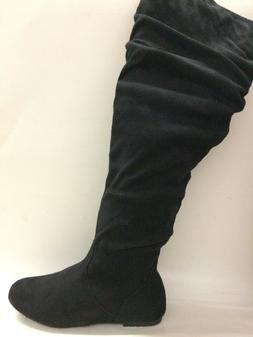 a48d47a5f55 Top Moda Women s Slip On Knee High Boots