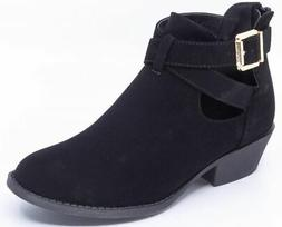 TOP MODA Women's Strappy Faux Suede Leather Bootie