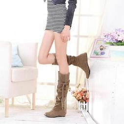 Women's Suede Slouch Boots For Women Warm Snow Mid-calf Boot