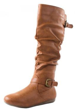 023d80e6bcd Top Moda Women s Tab-3 Faux Leather Knee High Boots with Ela