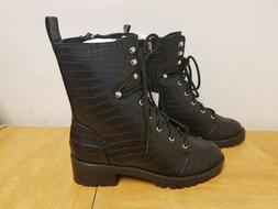What To Wear Women's Violet Croc Combat Boots 52404255 CHECK