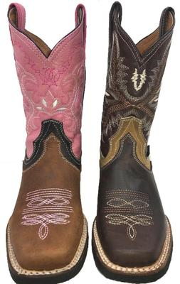 Women's Western Square Toe Cowgirl Boot Brown Bota De Dama V