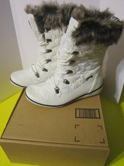 Global Win Women's Winter Fur Cuff Quilted Lace Up Snow Boot