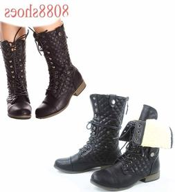 Women's Zipper Combat Low Heel Lace Up Mid Calf Boot Shoes A