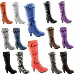 DailyShoes Women Slouchy Mid Calf Strappy Boots Ankle &Top S