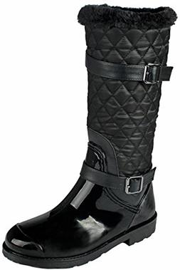 JJF Shoes Women Stormy Black Knee High Side Zip Quilted Ridi