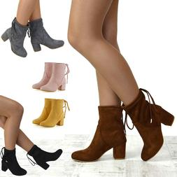 Womens Ankle Boots Chelsea Block Heel Stretch Ladies Pull On