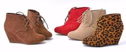 Womens Ankle Lace Up Boots Almond Toe Wedge Heel Faux Suede