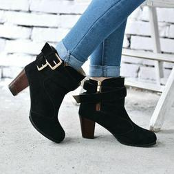 Womens Ankle Martin Boots High Heels Round Toe Casual Buckle
