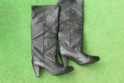 WOMENS BLACK LEATHER TALL MOTORCYCLE /  WESTERN BOOTS Size 1