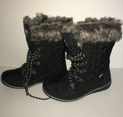 Global Win Womens Black Snow Boots Size 7.5. New