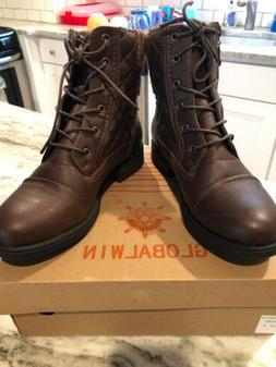 Global Win Women's Brown Lace-Up Boots Size 8 - WORN ONCE!
