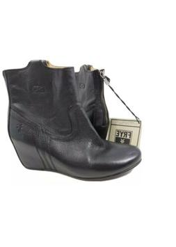 Frye Women's Carson Black Leather Wedge Bootie Ankle Boots