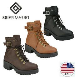DREAM PAIRS Womens Platform Lace Up Ankle Boots Side Zipper