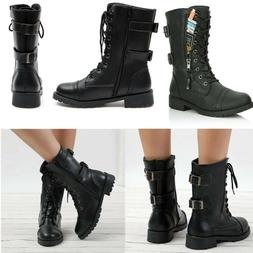Womens Combat Military Boots Lace Up Zipper New Women Vintag