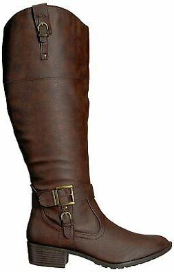 Rampage Womens ivelia Almond Toe Knee High Riding Boots, Bro