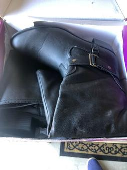 Rampage Womens Ivelia High Riding Boots Black Leather Size 1