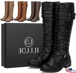 NEW Womens Knee High Boot Lace Up Buckle Fashion Military Co