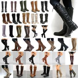 Womens Knee High Lace Up Buckle Winter Mid Calf Boots Leathe
