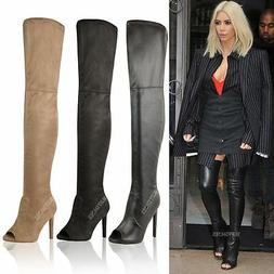 WOMENS LADIES THIGH HIGH OVER THE KNEE BOOTS PLATFORM HIGH H
