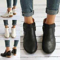Women Ladies Leather Ankle Boots Flat Casual Sandals Low Hee