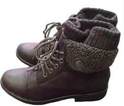 Forever Link Womens Low Heel Combat Boots, Black 8.5, so