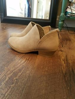 Womens Low Heels Ankle Boots Booties Round Toe Zipper Casual