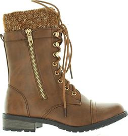 Forever Link Womens Mango-31 Round Toe Military Lace Up Knit