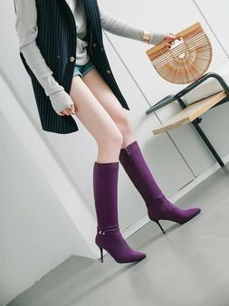 Chic Womens Casual Pointy Toe Stiletto High Heels Knee High