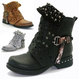 Women Studded Goth Zip Combat Ankle Boots Hollow Carved Tube
