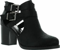 Soda Womens Scribe Ankle Bootie With Low Heel And Cut-Out Si