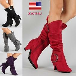 Womens Sexy Knee High Boots Suede Buckle Med Heels Ladies Ch