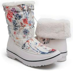 Global Win Womens White Floral Snow Boots Size 7.5