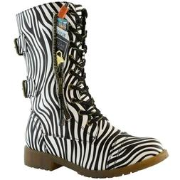 DailyShoes Zebra Combat Boots Mid Calf High Credit Card Knif